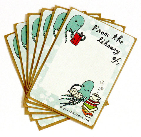 Octopus Bookplate (Ex Libris) Set of 6 by Susie Ghahremani / boygirlparty.com
