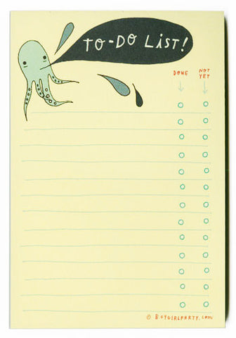 Inky Octopus To-Do List Notepad by Susie Ghahremani / boygirlparty.com