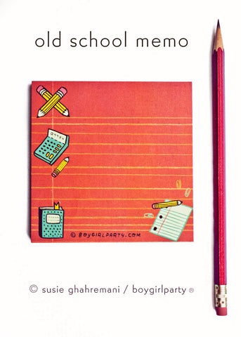 Retro Stationery - Old School Notepad - Office Notepad by boygirlparty