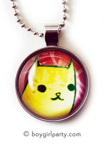 Orange Cat Necklace - Glass Cat Necklace by Susie Ghahremani / boygirlparty.com