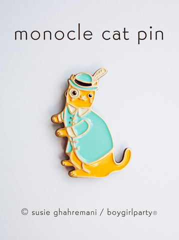 Fancy Cat Enamel Pin - Gentleman Cat Pin - Cat Enamel Pin by boygirlparty