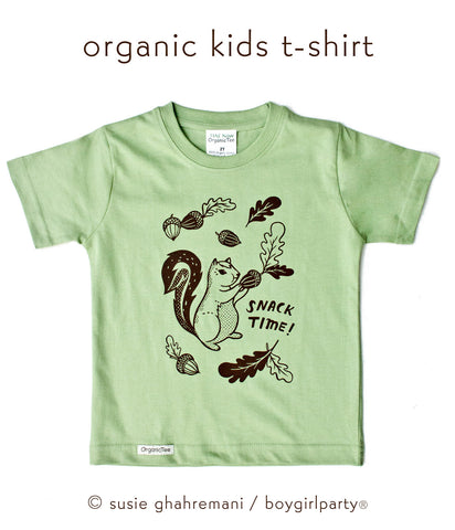 Squirrel Kids T-shirt / Squirrel Toddler T-shirt / Snack Time Kids Tee by Susie Ghahremani / boygirlparty.com