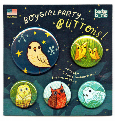 Owl Button Pack by Susie Ghahremani / boygirlparty.com
