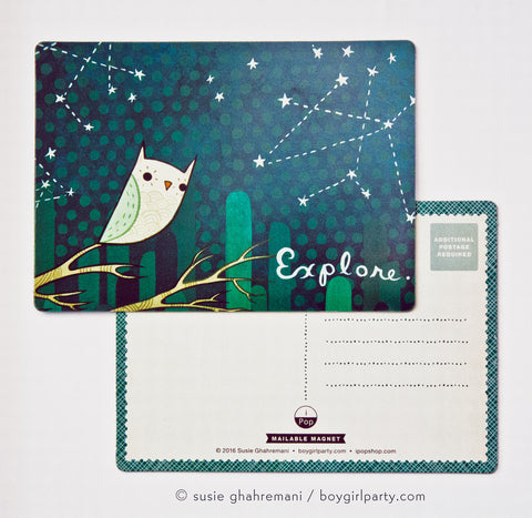 Owl Postcard Magnet - Explore Magnetic Postcard by Susie Ghahremani / boygirlparty.com