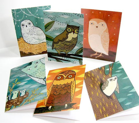 Owl Notecard Set (of 6) by Susie Ghahremani / boygirlparty.com