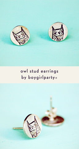 Silver Owl Earrings by Susie Ghahremani / boygirlparty.com