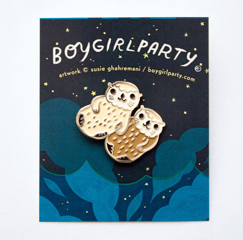 Otters Holding Hands Otter Enamel Pin By Boygirlparty The