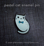 Limited Edition Pastel Cat Enamel Pin by Susie Ghahremani / http://shop.boygirlparty.com