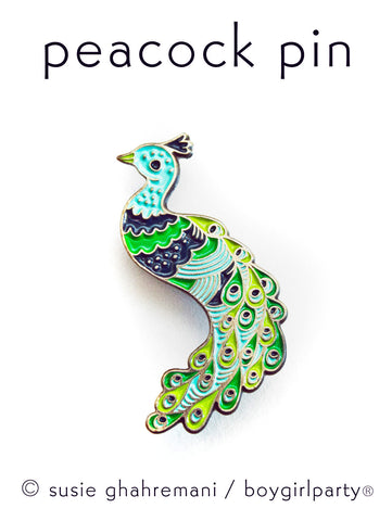 Peacock Pin Enamel Lapel Pin Peacock Pin by boygirlparty