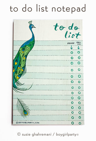 Peacock To Do List Notepad - Peacock Gifts by boygirlparty