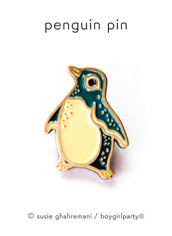 Penguin Pin Enamel Pin by boygirlparty /  Susie Ghahremani / http://shop.boygirlparty.com
