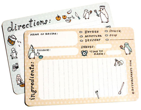 Penguin Recipe Cards (Set of 10) by Susie Ghahremani / boygirlparty.com