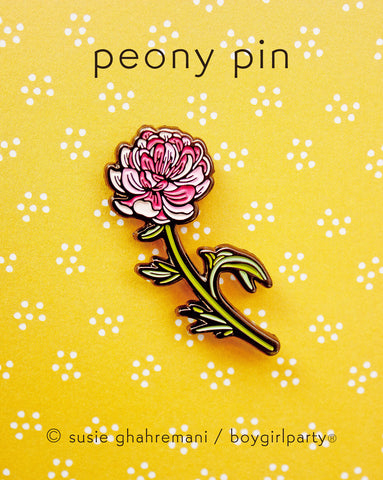 Botanical Enamel Pin - Peony Pin - Flower Enamel Pin by boygirlparty / Native Poppy