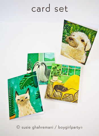 Cat and Dog Notecard Set – Blank Cards with envelopes – Cute Pet Greeting Cards