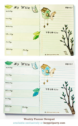 Forest Animal Weekly Planner Notepad by Susie Ghahremani / shop.boygirlparty.com