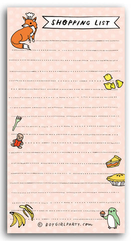 Fox/Penguin Shopping List by Susie Ghahremani / boygirlparty.com