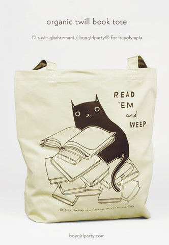Read 'em and Weep Book Tote by Susie Ghahremani of boygirlparty / http://shop.boygirlparty.com