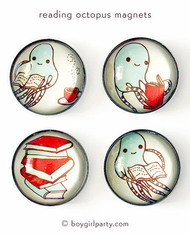 Gift for Book Lovers:  Reading Octopus Magnet Set by boygirlparty – http://shop.boygirlparty.com