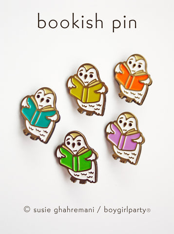 Owl Book Enamel Pin — Bookish Owl Lapel Pin by boygirlparty