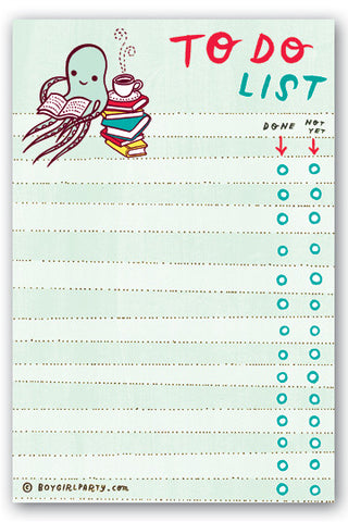 Reading Octopus To-Do List Notepad by Susie Ghahremani / boygirlparty.com