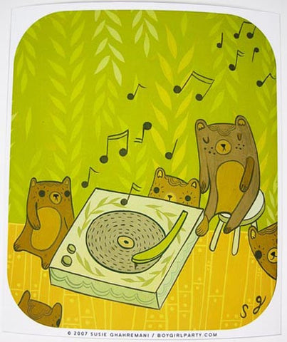 Record Bears Art Print by Susie Ghahremani / boygirlparty.com