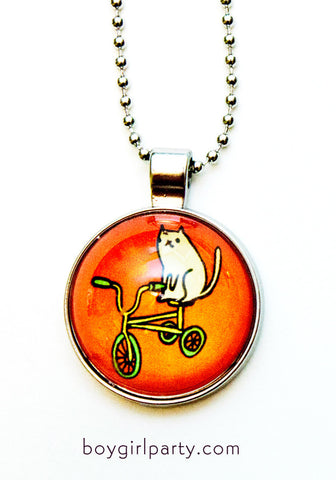 Cat Tricycle Necklace by Susie Ghahremani / boygirlparty.com