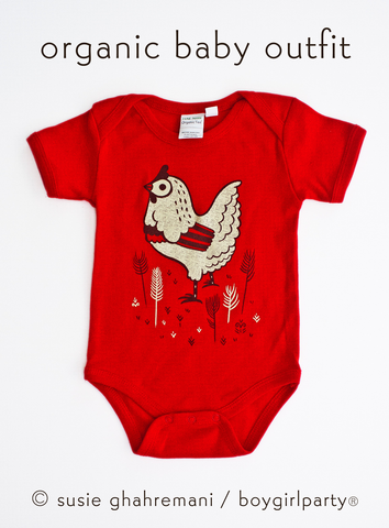 Chicken Onesie Baby Bodysuit - Organic Baby Clothes by boygirlparty