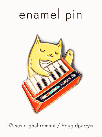 Keyboard Cat Enamel Pin (Red) - Music Cat Pin by boygirlparty