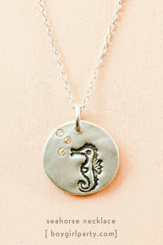 Silver Seahorse Necklace by Susie Ghahremani / boygirlparty.com
