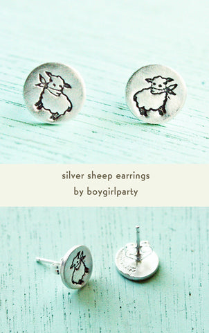 Silver Sheep Earrings by Susie Ghahremani / boygirlparty.com