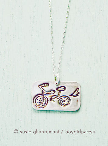 Silver Bike Necklace