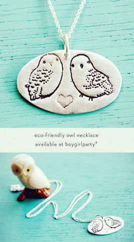 Owl Necklace made of eco-friendly sterling silver, illustrated by Susie Ghahremani / shop.boygirlparty.com