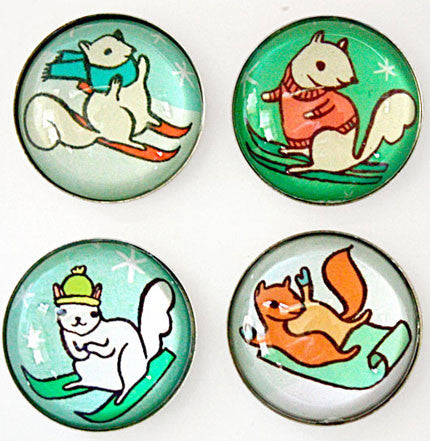 Skiing Squirrels Magnet Set by Susie Ghahremani / boygirlparty.com