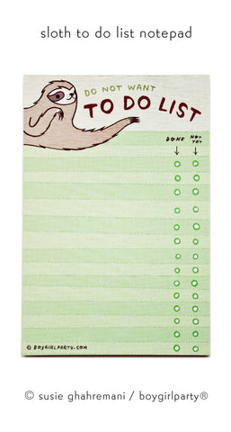 Sloth To Do List by Susie Ghahremani / boygirlparty.com
