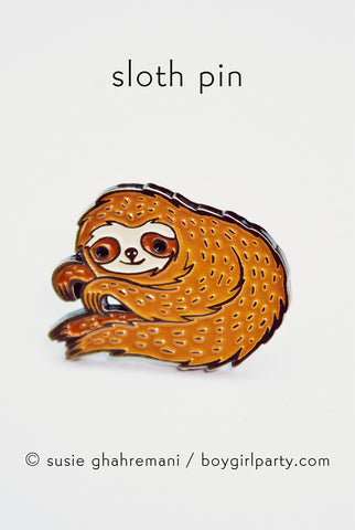 Sloth Pin - Enamel Sloth Enamel Pin by Susie Ghahremani / boygirlparty.com