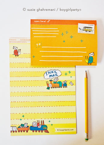 Snail Mail Stationery Set – Fold and Mail Letter Set by boygirlparty
