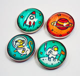 Outer Space Magnets by Susie Ghahremani / boygirlparty.com - astronaut magnets