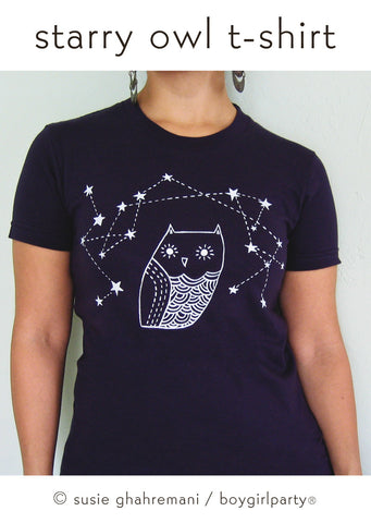 Starry Owl T-shirt (Navy Blue) - Owl t-shirt by boygirlparty