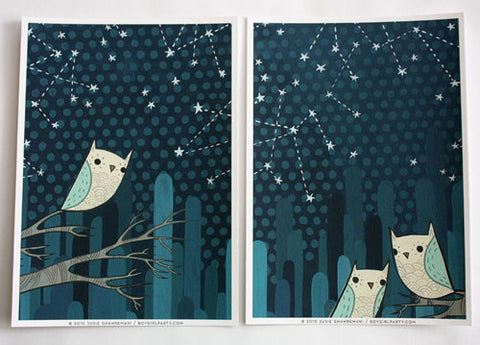 Starry Owl Print Set (of 2) by Susie Ghahremani / boygirlparty.com