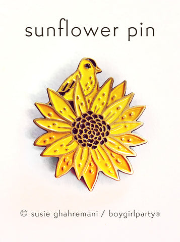 Sunflower Enamel Pin - Goldfinch Enamel Pin - Lapel Pin by boygirlparty