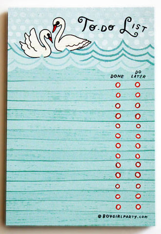 Swan To-Do List Notepad by Susie Ghahremani / boygirlparty.com