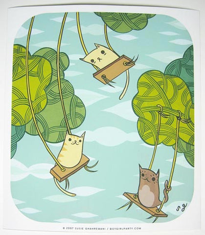 Swinging Cats Art Print (Signed) by Susie Ghahremani / boygirlparty.com