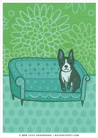 Boston Terrier Art Print by Susie Ghahremani / boygirlparty.com
