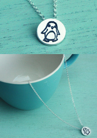 Miniature Silver Penguin Necklace by Susie Ghahremani / boygirlparty.com