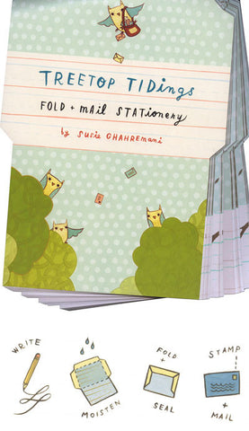 Treetop Tidings Fold and Mail Stationery by Susie Ghahremani / boygirlparty.com