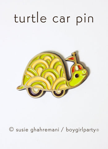 Turtle Enamel Pin -- Turtle Car Lapel Pin by boygirlparty
