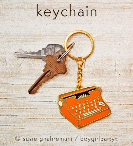 Red Typewriter Keychain -- Hard Enamel Key Chain