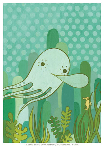 Undersea Octopus Art Print (No.1) by Susie Ghahremani / boygirlparty.com