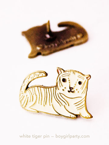 White Tiger Enamel Pin by Susie Ghahremani / boygirlparty.com