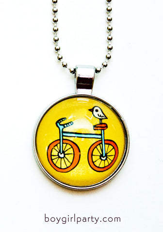 Yellow Bike Necklace by Susie Ghahremani / boygirlparty.com